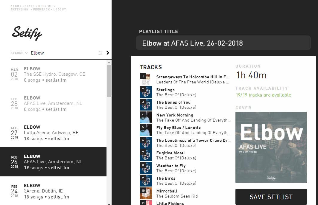 Setify: maak een playlist van de setlist